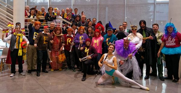 The band poses for a group photo in full costume showing off their Dance-Along Nutcracker spirit