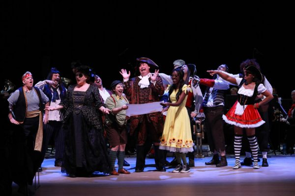 """The cast laughs and yells out """"Everyone knows there's no treasure on Treasure Island!"""" at 2017 Dance-Along Nutcracker: Nutcrackers of the Caribbean"""