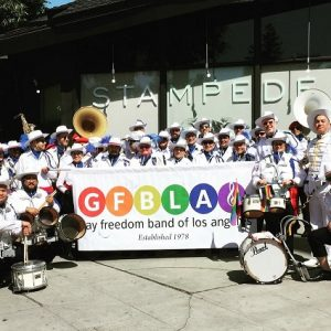 Group picture of the Gay Freedom Band of Los Angeles